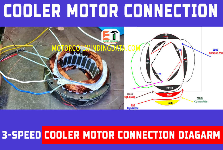 Motor winding connection | 3Speed cooler motor winding connection diagram in Hindi and English-motorcoilwindingdata.com