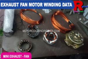 Bathroom exhaust fan motor winding data