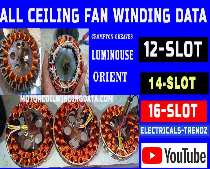 All Fan Winding Data | Ceiling Fan Winding Data Sheet