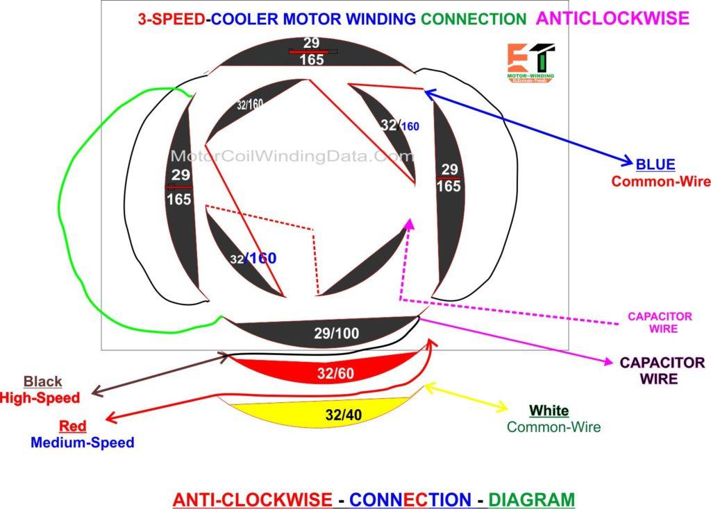 3 Speed anticlockwise cooler motor winding connection digram-motorcoilwindingdata.com