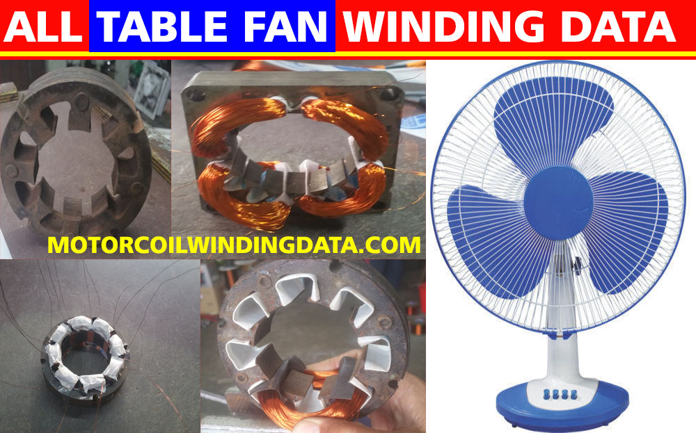 All Table Fan Winding Data.Table Fan Winding Diagram
